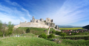 Panorama of Beckov castle Stock Images