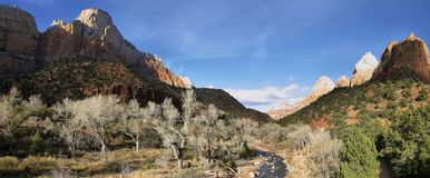 Panorama at the begining of Zion canyon scenic drive Royalty Free Stock Photography