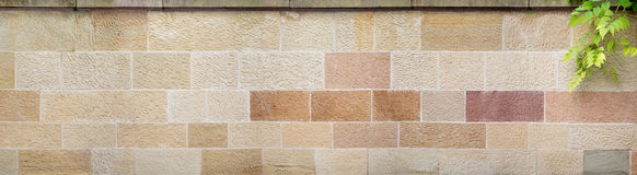 Panorama of a beige-brown stone wall Stock Photos