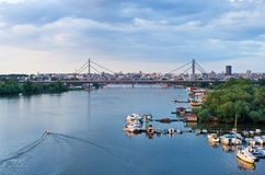 Panorama of Belgrade downtown, a view from Sava river Stock Images