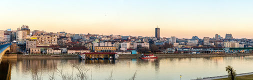 Panorama of Belgrade over the Sava river Stock Images