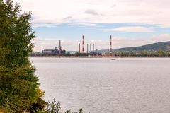 Panorama Beloretsky staw Widok Beloretsk Metalurgiczny syndykat fotografia stock
