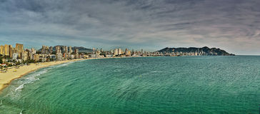 Panorama of Benidorm. Panorama of all-the-year sunny coast of Costa Blance in Benidorm - Spain Royalty Free Stock Image