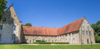 Panorama of the Bentlage monastery courtyard and garden. Near Rheine, Germany Stock Photography