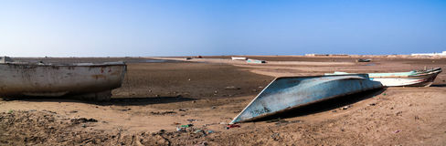 Panorama of Berbera port and beach with boats Somalia. Panorama of Berbera port and beach with boats, Somalia Stock Images