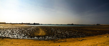 Panorama of Berbera port and beach with boats Somalia Royalty Free Stock Image