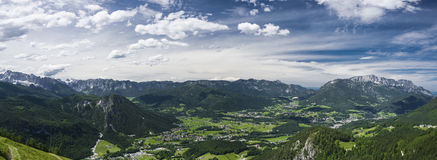 Panorama Berchtesgaden Alps. On a sunny summer day Stock Photo