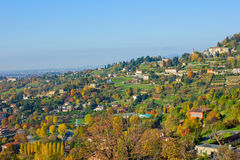 Panorama of Bergamo hills, Italy Stock Images