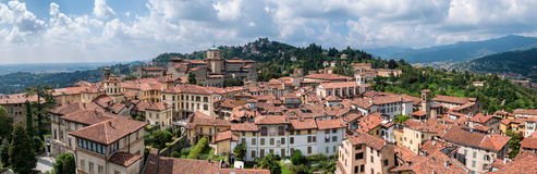 Panorama of Bergamo seen from the old town Royalty Free Stock Photo