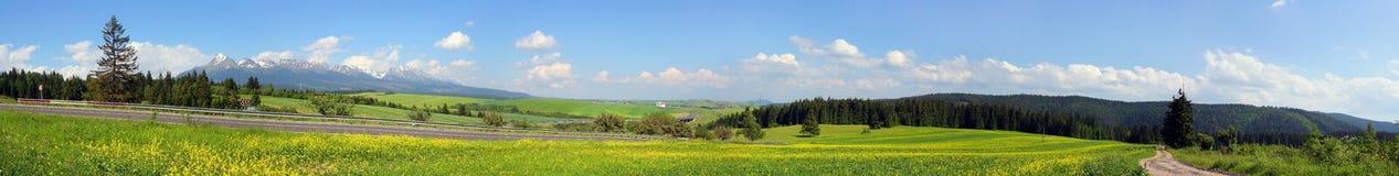 Panorama-bergen en heuveltjes Stock Foto