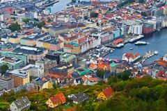 Panorama of Bergen, Norway Stock Photography