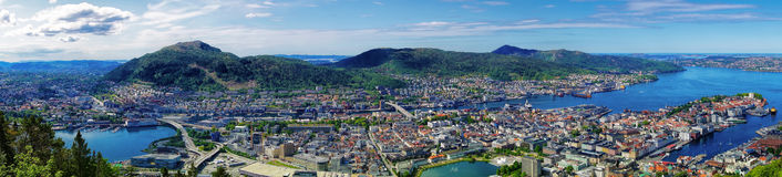 Panorama of Bergen in Norway Royalty Free Stock Photography