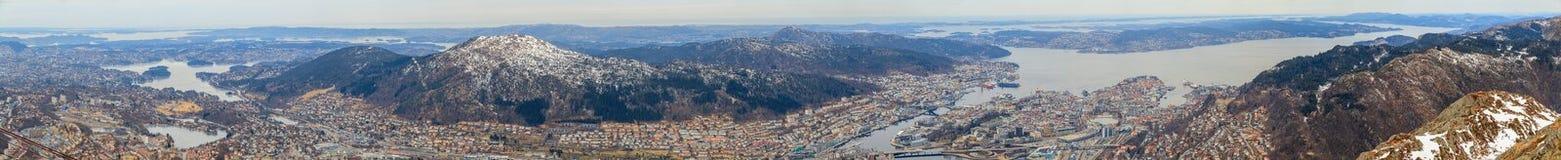 Panorama of Bergen, Norway Stock Images