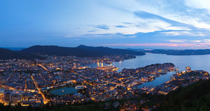 Panorama of Bergen Norway Royalty Free Stock Photography
