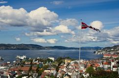 Bergen panorama with flag royalty free stock image