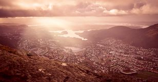 Panorama of Bergen town seen from above royalty free stock photo