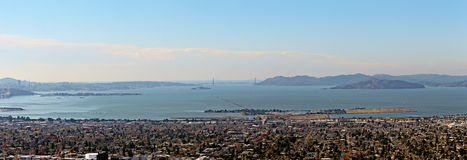 The Panorama from Berkeley Hills on Golden Gate Bridge. View from Berkeley Hills on Golden Gate Bridge. Alcatraz, Sausalito and San Francisco is visible in Stock Photography