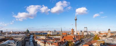Panorama of Berlin city skyline with TV tower. Nikolaikirche, Berlin Cathedral and the Red Town Hall royalty free stock photos