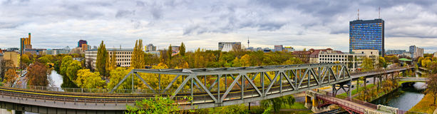 Panorama in Berlin with railroad on first plane Stock Photos
