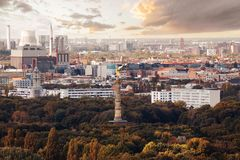 Panorama of Berlin and statue of victory royalty free stock photo