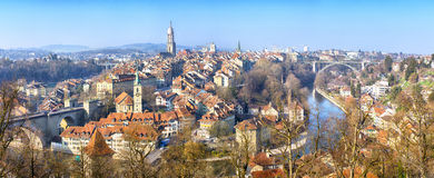 Panorama of Bern, Switzerland. Panoramic view on the old town of Bern, Switzerland Royalty Free Stock Photography