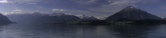 Panorama of bernese alps and lake Thun Royalty Free Stock Photo