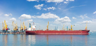 Panorama of berth of a sea cargo port with ship Stock Photography