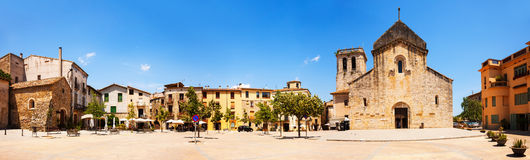 Panorama of Besalu. Church of Sant Pere Stock Images