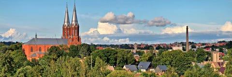 Panorama- beskåda av Anyksciai - Litauen arkivfoton