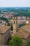 Panorama- beskåda av Castellarquato Emilia-Romagna italy arkivbild