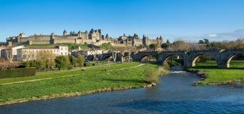 La Cité, Carcassonne royaltyfria foton