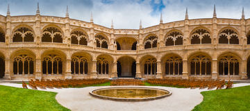 Panorama- Jeronimos klosterCloister Fotografering för Bildbyråer