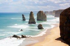 Panorama- beskåda av de tolv apostlarna, stort hav Royaltyfria Foton