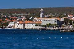 Panorama- beskåda av den gammala adriatic townen Krk Arkivbild