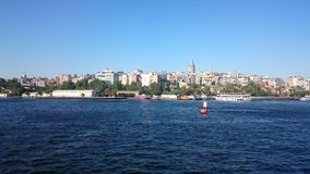Panorama- beskåda av Istanbul Panoramacityscape av den berömda turist- kanalen för destinationsBosphorus kanal Lopplandskap Bospo royaltyfri fotografi
