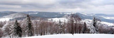 Panorama- beskåda av Luzicke berg i Republiken Tjeckien i vinter Royaltyfri Fotografi