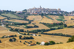 Panorama- beskåda av Potenza Picena Royaltyfri Fotografi