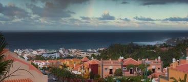 Panorama- beskåda av Puerto de la Cruz, Tenerife, Spanien Arkivbilder