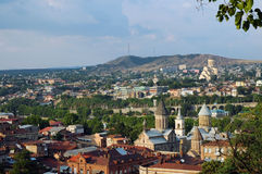 Panorama- beskåda av staden Tbilisi, Georgia Royaltyfri Bild