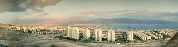 Panorama- beskåda på Eilat och Aqaba Royaltyfri Bild