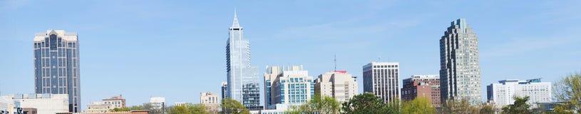 Panorama- beskåda på i stadens centrum Raleigh, NC arkivbilder