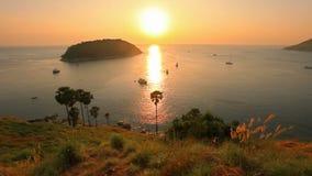 Panorama- beskåda på solnedgånghavet lager videofilmer
