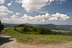 Panorama of Beskydy mountain range Royalty Free Stock Image