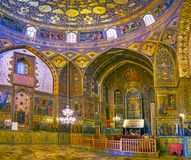 Panorama of the Bethlehem Church in Isfahan, Iran. ISFAHAN, IRAN - OCTOBER 20,2017: Panorama of Armenian Orthodox Bethlehem Church with altar and side walls Royalty Free Stock Photo