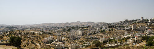 Panorama of Bethlehem with Herodium hill Royalty Free Stock Photography