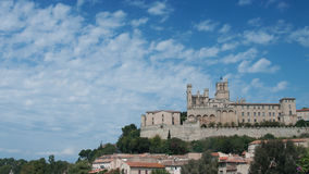 Beziers in France with cathedral. Panorama of Beziers in France with cathedral Stock Image