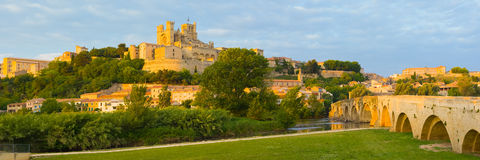 Panorama of Beziers. At a spring day Stock Photography