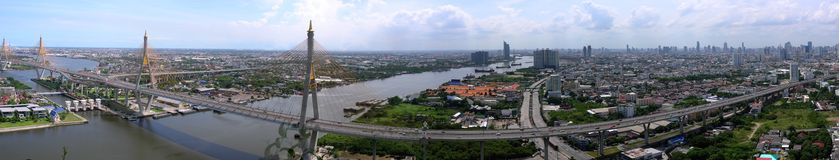 Panorama of The Bhumibol Bridge. The Bhumibol Bridge, also known as the Industrial Ring Road Bridge is part of the 13 km long Industrial Ring Road connecting Royalty Free Stock Image