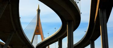 Panorama Of Bhumibol Bridge, Bangkok Stock Image
