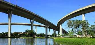 Panorama Bhumibol Bridge, thailand. Royalty Free Stock Photography